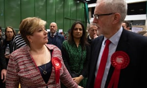 Emily Thornberry with Jeremy Corbyn at their count in Islington last week.
