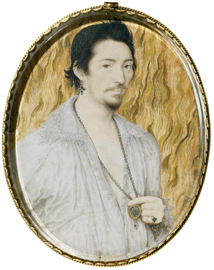 Red-hot youth … Nicholas Hilliard's portrait of an unknown man against a background of flames.