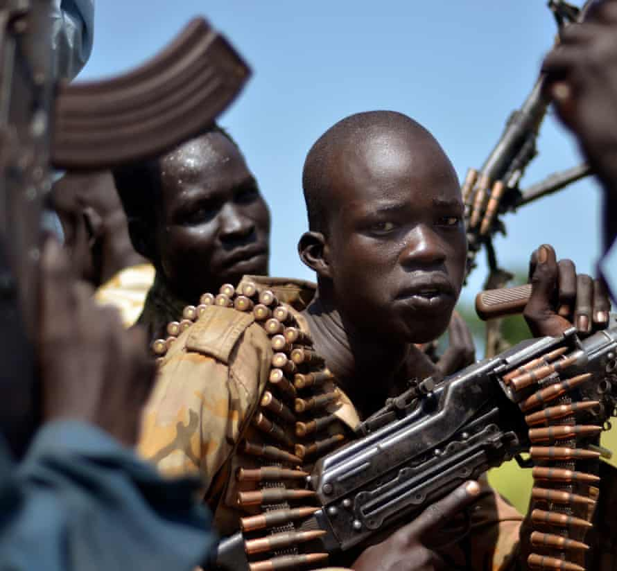 South Sudan government soldiers in the Unity state.