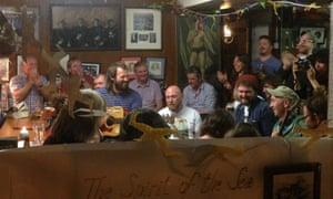 A band plays at Levis Corner House Ballydehob, West Cork, Ireland.
