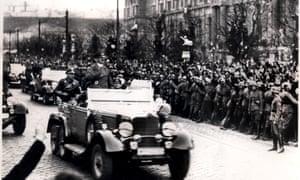 Nazi leader Adolf Hitler entering Vienna in 1938