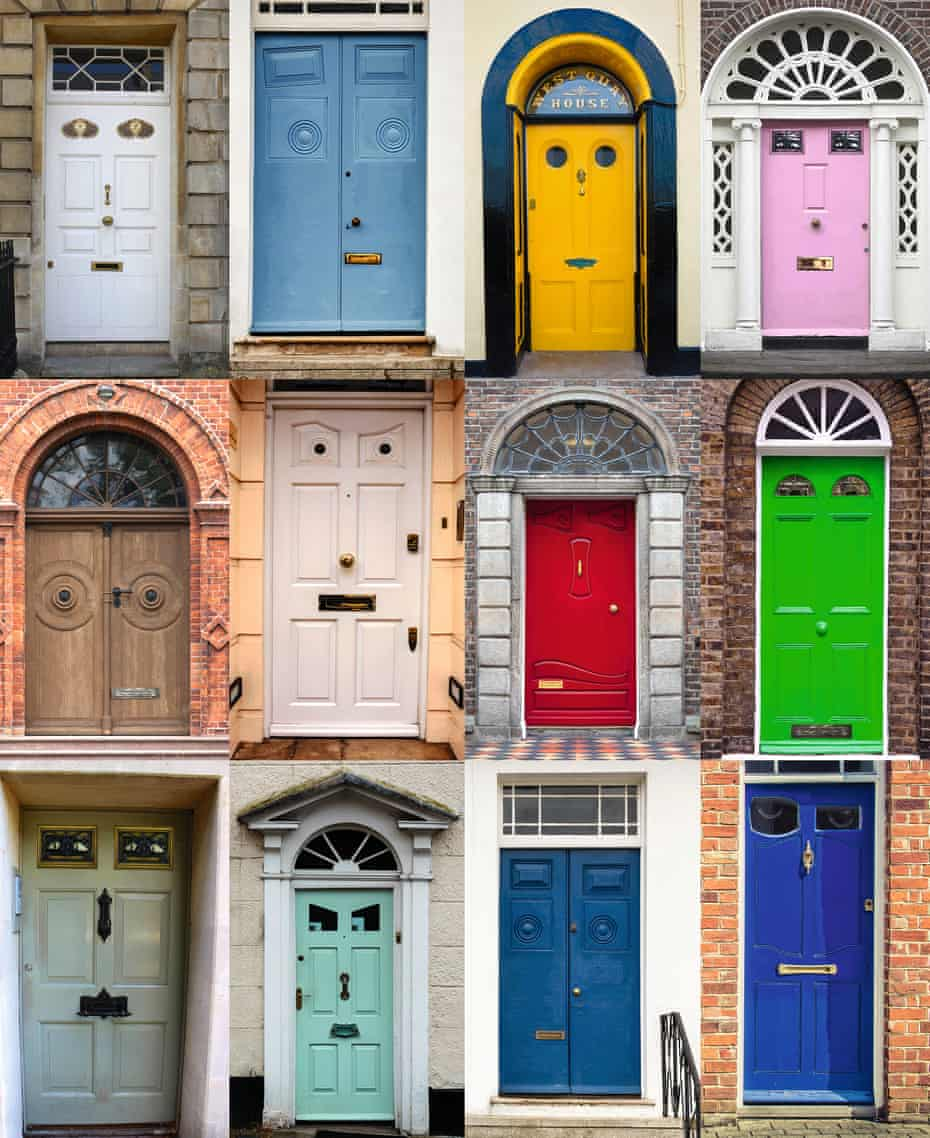 A montage of front doors, all made to look like faces