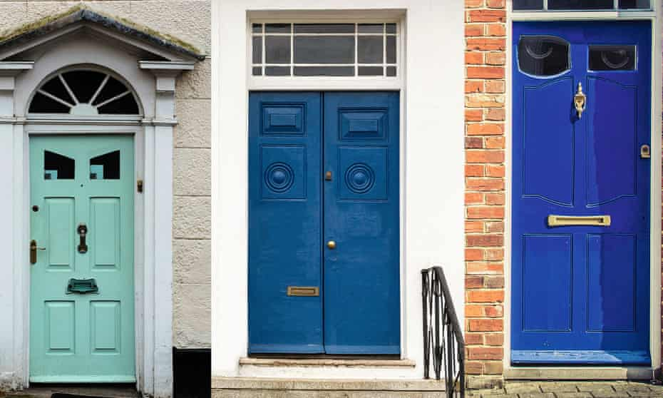 A montage of front doors, made to look like faces