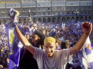 Deportivo players and fans celebrate after winning the league in 2000.