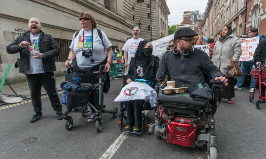 'Politicians have proudly promoted the reformed welfare system as fairly reaching the 'really disabled'.' Disabled people protest against cuts in London.