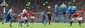 Paul Pogba hits a free-kick. Pogba scored the opener helping United secure the points with a 2-1 win.