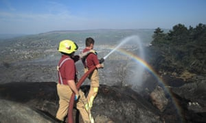 Firefighters tackling the fire yesterday.