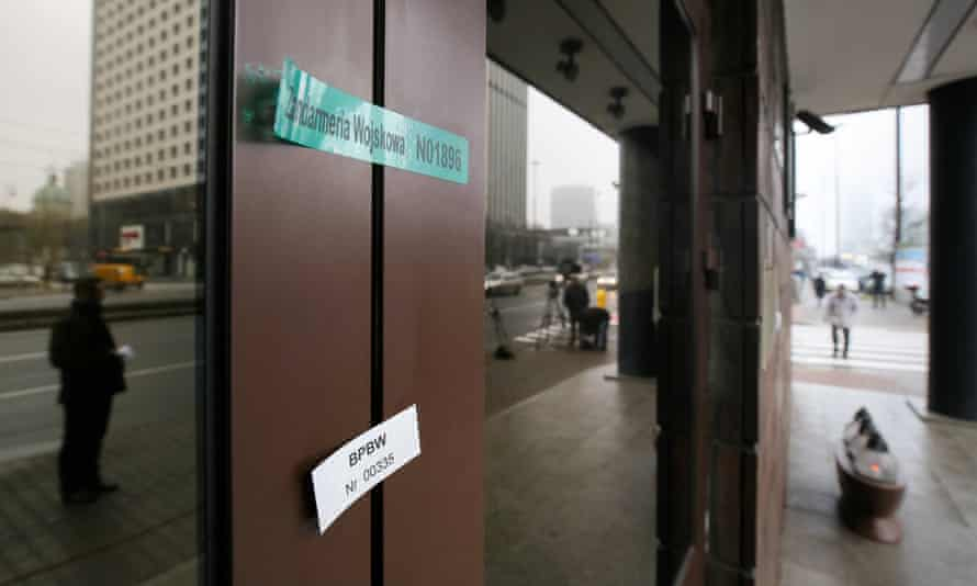The sealed entry to the Nato Counter-Intelligence Centre of Excellence in Warsaw.