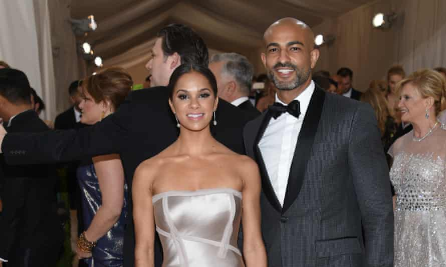 Copeland and her husband Olu Evans in evening dress posing for the photographer at an awards ceremony
