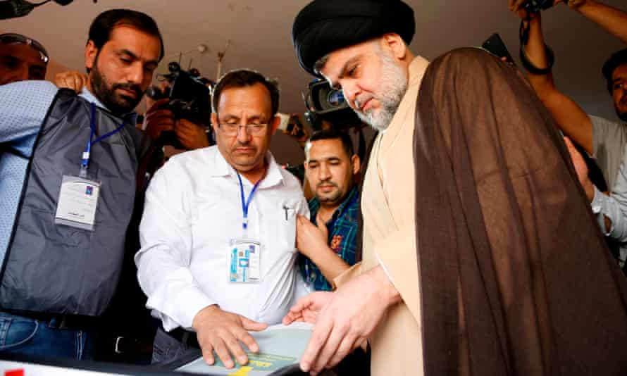 Moqtada al-Sadr voting in Najaf. He cannot become prime minister as he did not run in the election,