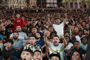 Tripoli, Libya. Fans watch a qualifying game for the Qatar 2021 World Cup between Libya and Egypt