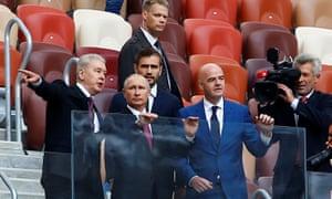 Russian president Vladimir Putin and president of Fifa Gianni Infantino at Luzhniki Stadium in Moscow.