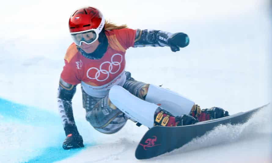 Ester Ledecka of the Czech Republic in action in the Parallel Giant Slalom Finals on Saturday.