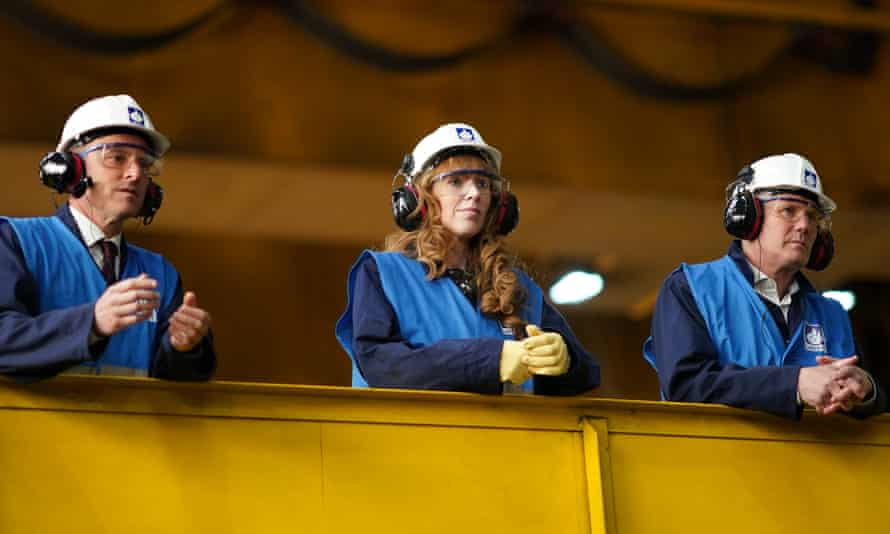 Angela Rayner, flanked by Keir Starmer, right, and Paul Williams, the Labour candidate for Hartlepool, on a visit to Liberty steel mill in the city.