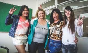 Mocha Celis high school students Anahi Dia, Karina Caprara, Silvana Alvarez and Julieta Alonso