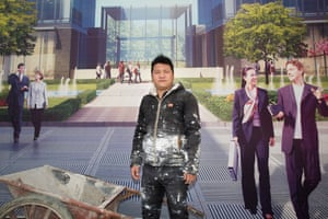 This painter, from Jiangxi, earns ¥200 a day working on the Changfeng Centre development