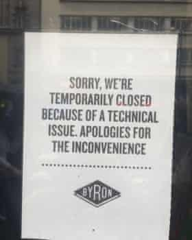 Byron Burger closure notice