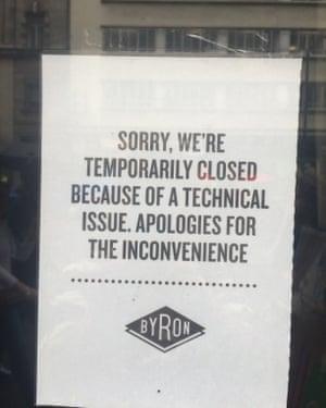 Byron Burger closure notice