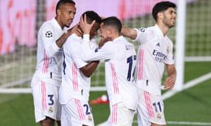 Vinicius Junior of Real Madrid celebrates scoring.
