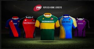 The home jerseys of the five PRO Rugby teams