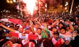 Peru vs New Zealand<br>epa06332216 Peruvians celebrate after the FIFA World Cup 2018 qualification playoff second leg match between Peru and New Zealand in the streets of Lima, Peru, 15 November 2017. Peru won and got qualification to the 2018 World Cup in Russia.  EPA/VICTOR GONZALEZ