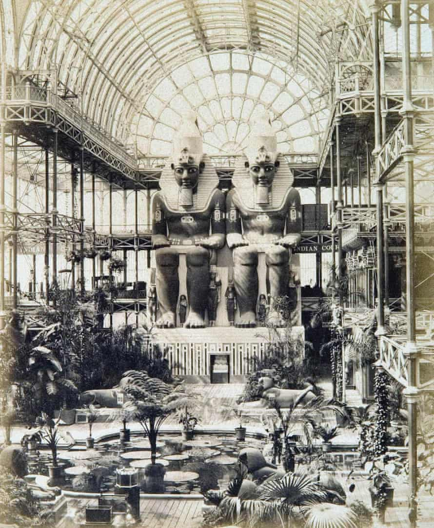 Replicas of the famous Abu Simbel statues of Ramesses II inside the Crystal Palace.