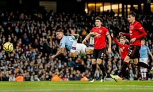Manchester City player Gabriel Jesus narrowly misses with a flying header during the Manchester Derby.