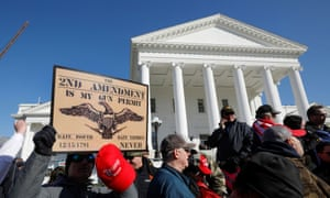 Gun supporters held a 2nd Amendment during a rally in front of the Virginia State Capitol building in Richmond, Virginia.