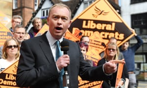 Liberal Democrat leader Tim Farron at a rally in St Albans, Hertfordshire.