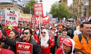 A march in Melbourne calling for higher wages