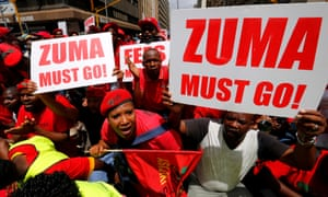 Demonstrators call for the removal of Jacob Zuma.