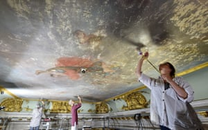Potsdam, Germany Restorers work on the 42 sq metre fresco 'Flora mit Genien' which was painted directly on to the ceiling in the vestibule of the Sanssouci Palace by Swedish painter Johann Harper