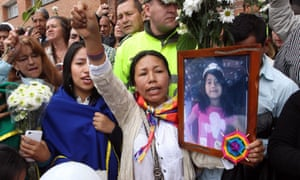 People participate in a farewell ceremony on Wednesday for Yuliana Andrea Samboní.