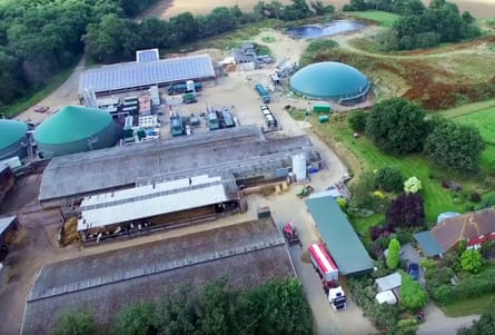Crouchland farm with its anaerobic digester near the village of Plaistow in Sussex.