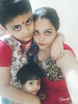 Vikash Mishra's wife Vinita, son Tanmay and daughter Tanya. He should be with them by Christmas.