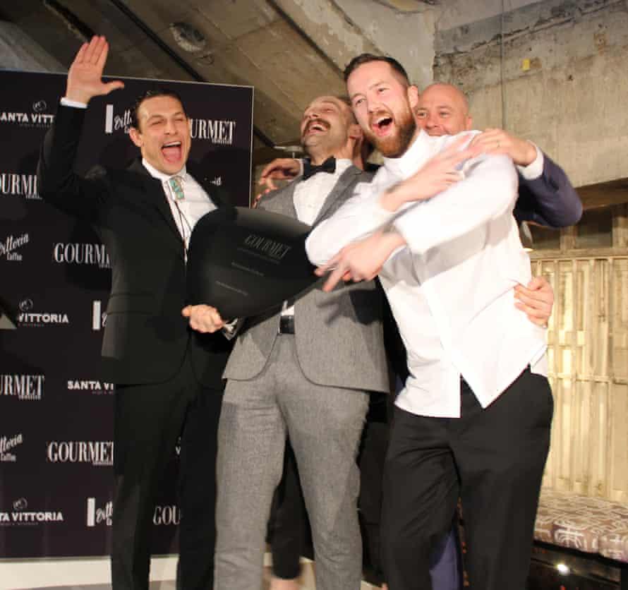 Sydney's Restaurant Hubert team on the podium at the 2016 Gourmet Traveller restaurant awards