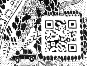 QR codeIn Beijing, cash is not king. QR codes, used in mobile payments for everything from restaurant bills to food shopping, are a major part of life. The QR code on the map takes viewers directly to Fuller's website. This section of the map also includes a moment he witnessed in the city, when a man was fast asleep in his car with his foot resting on the horn