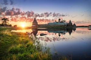 Summer Sunset in Solovki on the shores of the Holy Lake with views of the Solovetsky Monastery