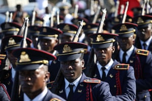 Cap-Haïtien, Haiti. The armed forces march in Haiti's second city