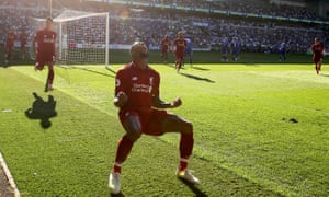 Georginio Wijnaldum of Liverpool celebrates scoring his side's first goal.