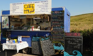 Mobile cafe at Freshwater West Pembrokeshire Wales