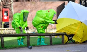 Emergency services in hazmat suits work at a scene contaminated by the nerve agent novichok