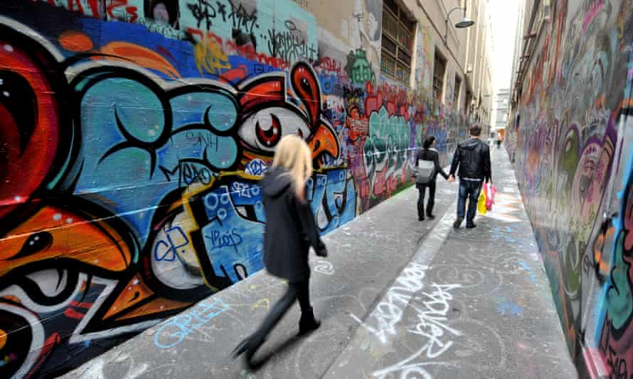 Union Lane in Melbourne, one of the city's best-known street art sites.