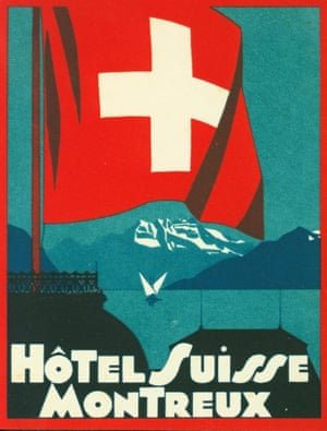 hotel-suisse-montreux2 Hotel Suisse Montreux: Now called the Grand Hotel Suisse-Majestic, this old-school luxury hotel was built in 1870 and is located just in front of the railway station in the heart of Montreux. Amazing views of Lake Geneva with mountains in the distance, which this 1937 label only hints at.