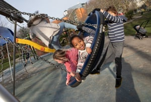 Children at a playground in Lambeth, south London, amid reports the pandemic is affecting socialisation skills.
