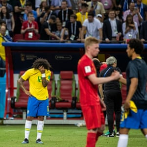 Brazil's Marcelo reacts to his team's defeat in the quarter-final against Belgium at the Kazan Arena.