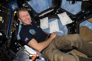 Tim Peake with seeds from the Rocket Science experiment