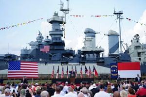 Donald Trump speaks at the Battleship North Carolina in Wilmington, North Carolina.