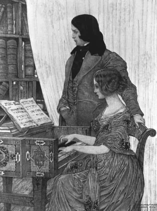engraving of Robert and Clara Schumann.