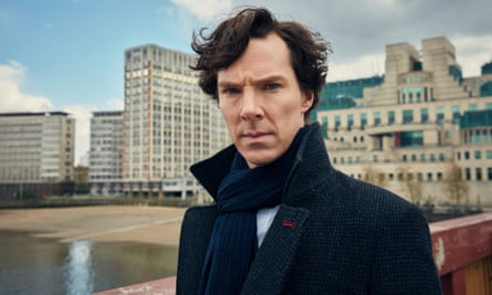 Benedict Cumberbatch as James Bond, standing in front of the MI6 building.